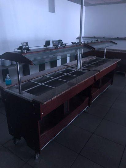 2 buffets chaud de milieu mobile 155x90x85  2 X 1500 W