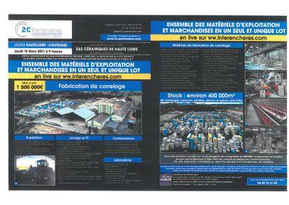 ATTENTION NOUVELLES CONDITONS DE VENTE POUR LJ SAS CERAMIQUES DE HAUTE LOIRE  LA TUILERIE  43230 COUTEUGES VENTE AUX ENCHERES DE L'ENSEMBLE DES MATERIELS DE     BUREAU ET D'EXPLOITATION + STOCK EN UN SEUL ET UNIQUE LOT en     LIVE sur www.interencheres-live.com - Mise à prix 1 500 000€