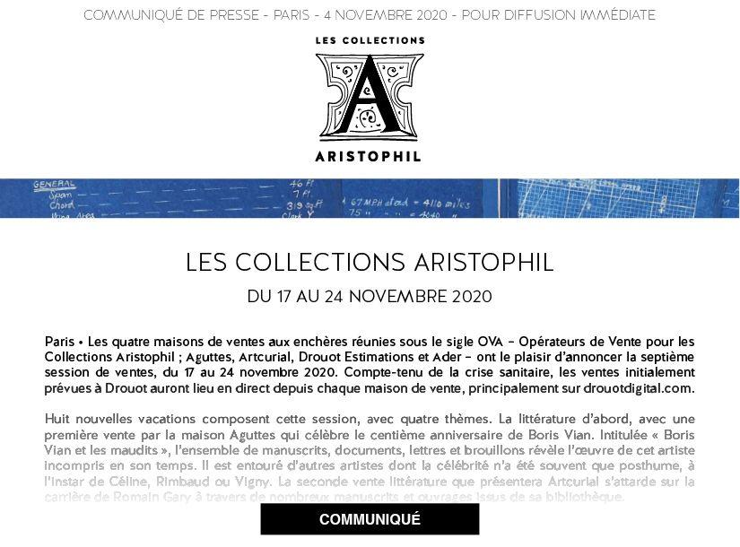 OUVERTURE DE LA SESSION D4AUTOMNE 2020 DES LES COLLECTIONS ARISTOPHIL