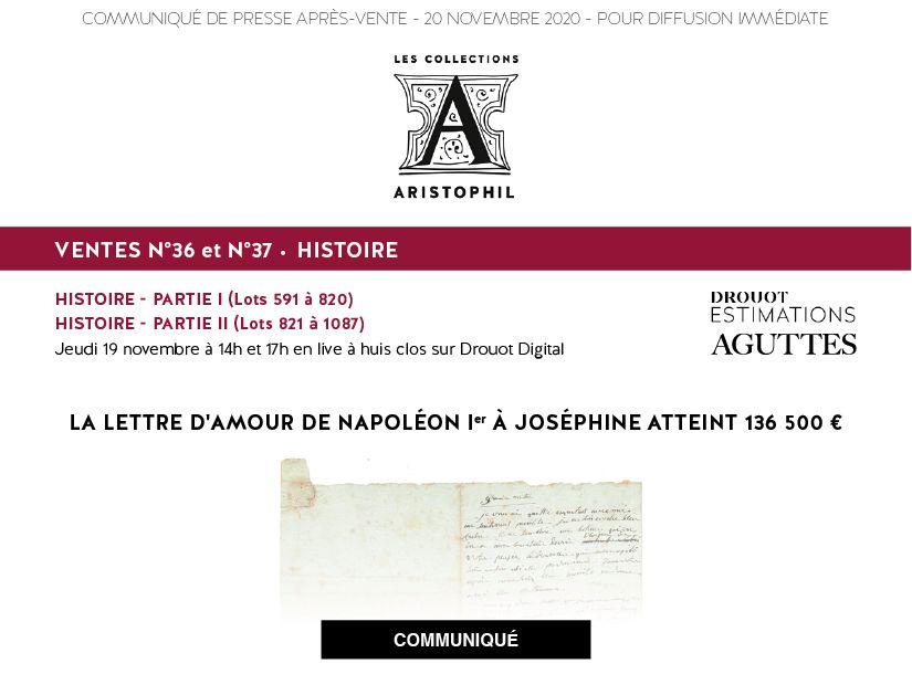 LA LETTRE D'AMOUR DE NAPOLÉON IER À JOSÉPHINE ATTEINT 136 500 €