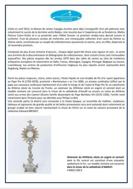 Vente Orfèvrerie religieuse, Haute Époque
