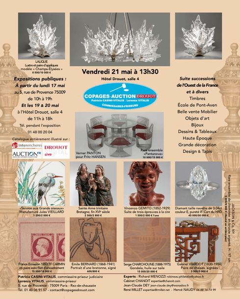 BELLE VENTE : TIMBRES, DESIGN, BIJOUX, GRANDE DÉCORATION, OBJETS D'ARTS, ARTS GRAPHIQUES, TAPIS MODERNES