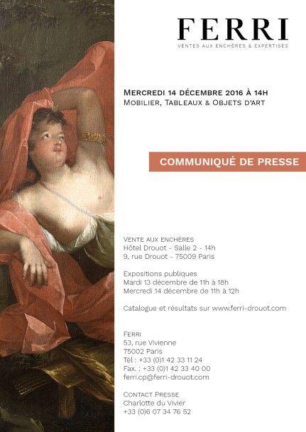 COMMUNIQUE DE PRESSE - TABLEAUX, BIJOUX, MOBILIER & OBJETS D'ART