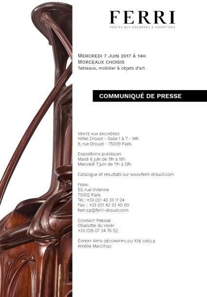 COMMUNIQUE DE PRESSE - TABLEAUX, MOBILIER & OBJETS D'ART