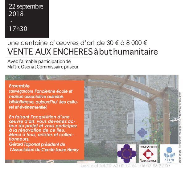 Vente caritative le 22 septembre à Barbizon