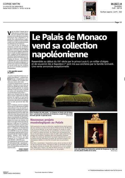 Le Palais de Monaco vend sa collection napoléonienne