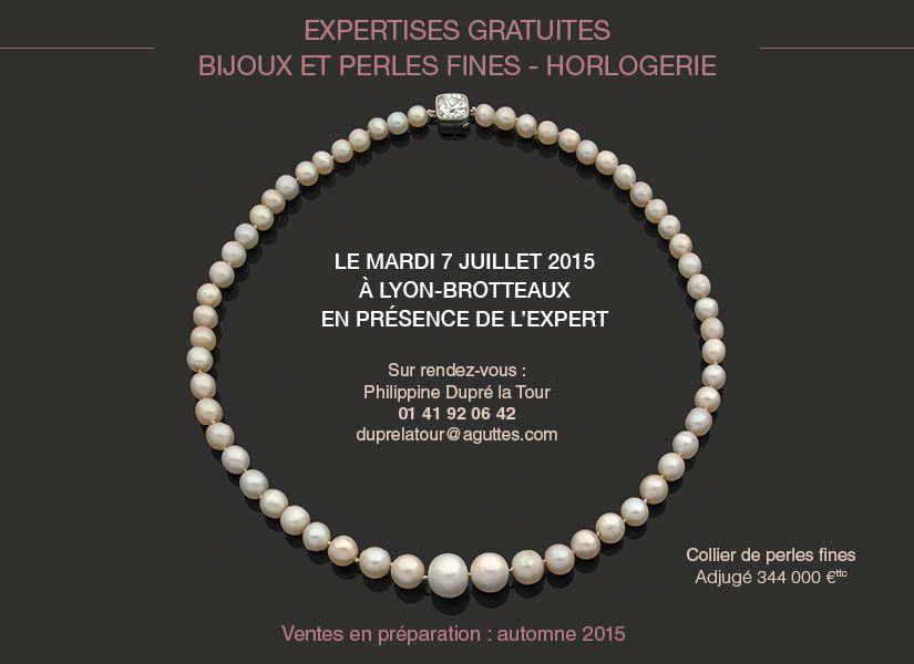 Expertises Bijoux & Perles fines, Horlogerie - 07/07/15 - Lyon-Brotteaux