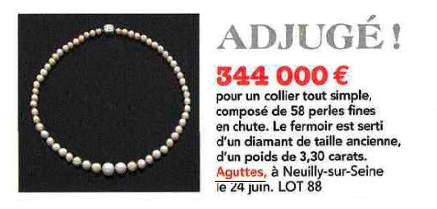 Adjugé 344 000 € pour un collier composé de 58 perles fines