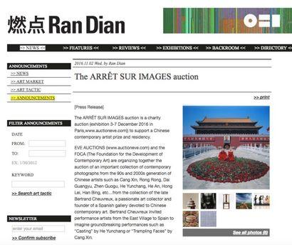PARUTION PRESSE - VENTE AUX ENCHERES ART CONTEMPORAIN CHINOIS
