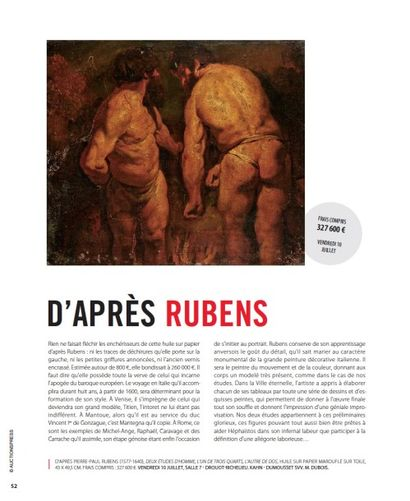 D'APRÈS RUBENS - Adjugé frais compris 327 600 €