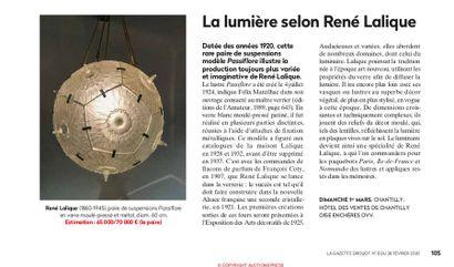 LA LUMIERE SELON LALIQUE, Article de la Gazette Drouot n°8 du 28 février 2020, p.74