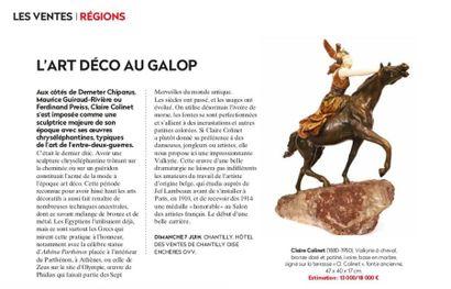 L'ART DECO AU GALOP, ARTICLE DE LA GAZETTE DROUOT N°22 DU 5 JUIN 2020, P.136