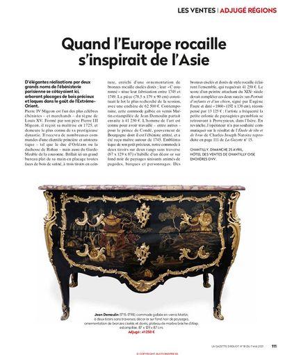 QUAND L'EUROPE ROCAILLE S'INSPIRAIT DE L'ASIE, ARTICLE DE LA GAZETTE DROUOT N°18 DU 7 MAI 2021, P.111