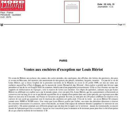 Ventes aux enchères d'exception sur Louis Blériot