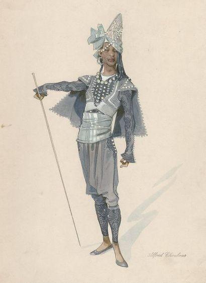 Arts et Spectacles : Gouache d'Alfred Choubrac vers 1900 pour le Music-Hall
