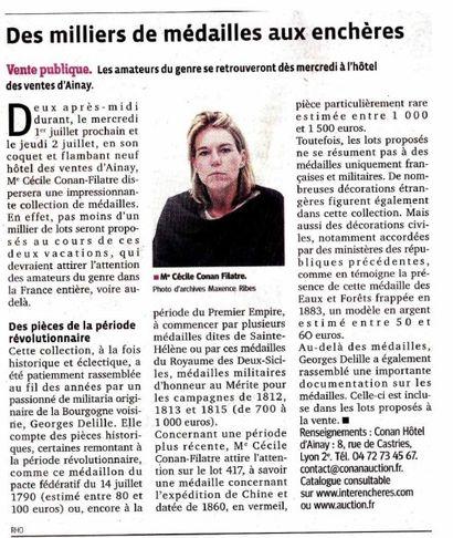 Revue de presse - Ventes des 1er et 2 juillet 2015