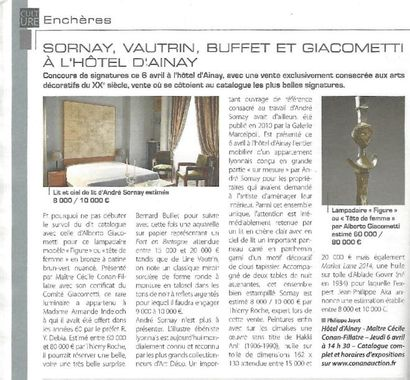 SORNAY, VAUTRIN, BUFFET ET GIACOMETTI A L'HOTEL D'AINAY