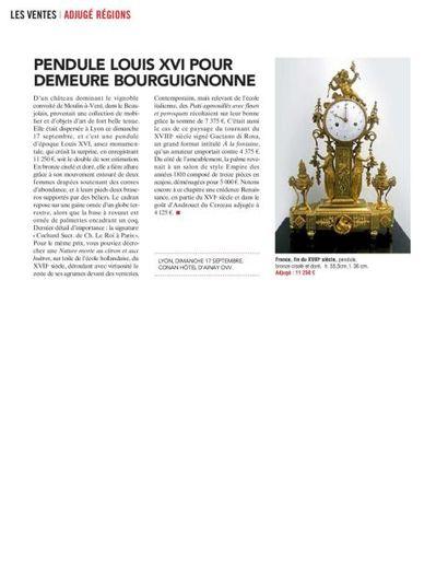 PENDULE LOUIS XVI POUR DEMEURE BOURGUIGNONE