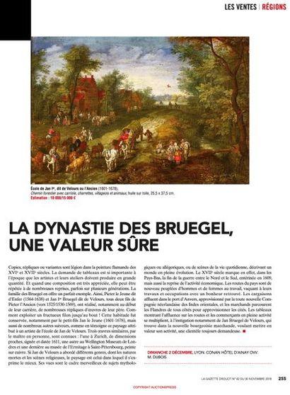 BRUEGHEL (lot 10 vente du 4 décembre 2018), une valeur sûre pour la Gazette de l'Hôtel Drouot