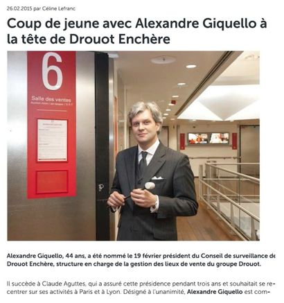 Coup de jeune avec Alexandre Giquello à la tête de Drouot Enchère
