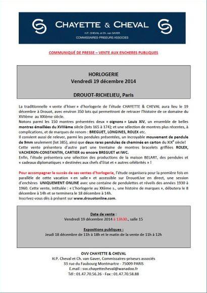 Communiqué de presse - vente du 19 décembre 2014