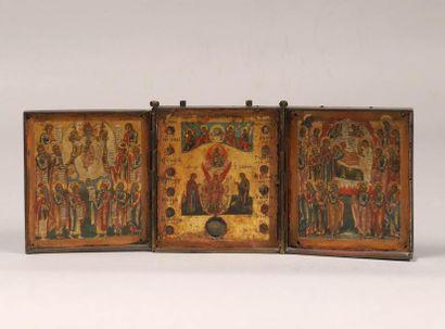 FOCUS LOT- VENTE DU 13 OCTOBRE - Un beau résultat pour ce triptyque de voyage avec une icône reliquaire - Travail russe du milieu du XIXème siècle