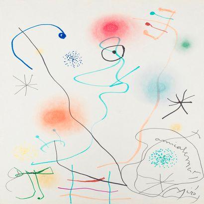 Joan Miro, deux oeuvres sur papier, une dédicace