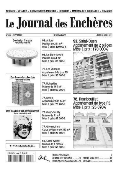 LE JOURNAL DES ENCHÈRES DU 1er AVRIL 2021