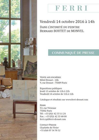 Communiqué de presse - Dans l'intimité du peintre Bernard BOUTET de MONVEL