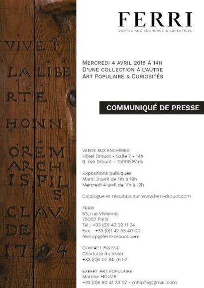 COMMUNIQUE DE PRESSE - ART POPULAIRE - D'UNE COLLECTION A L'AUTRE