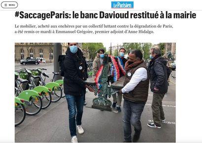 ► #SaccageParis: le banc Davioud restitué à la mairie