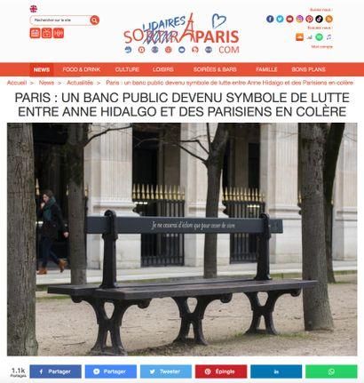 ► Paris : Un banc public devenu symbole de lutte entre Anne Hidalgo et des parisiens en colère