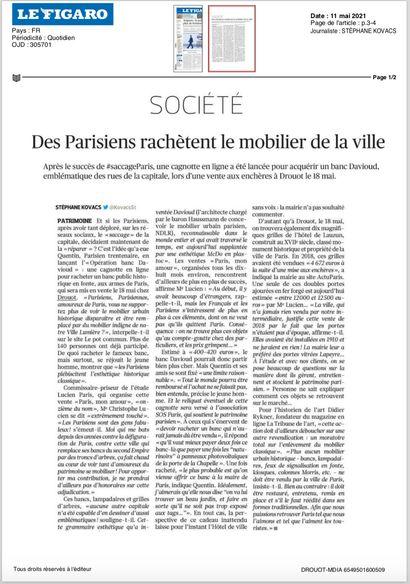 ► Des parisiens rachètent le mobilier de la ville