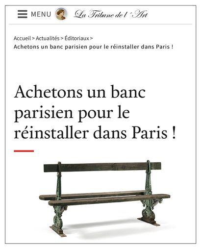 ► Achetons un banc parisien pour le réinstaller dans Paris !