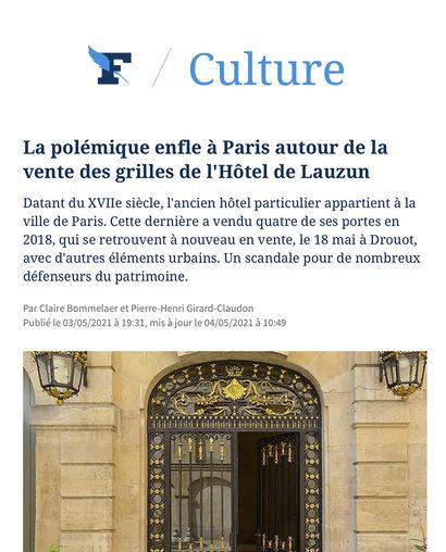 ► La polémique enfle à Paris autour de la vente des grilles de l'Hôtel de Lauzun