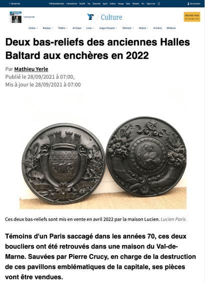 ► Deux bas-reliefs des anciennes Halles Baltard aux enchères en 2022
