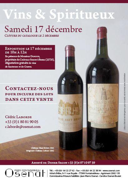 Vins & Spiritueux - Dégustation le 17 Décembre