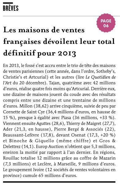 Les maisons de ventes françaises dévoilent leur total définitif pour 2013