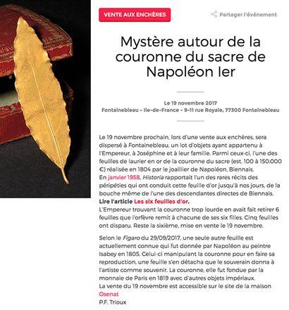 Notre vente L'Empire à Fontainebleau dans le magazine Historia