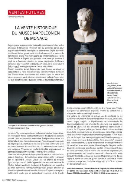 LA VENTE HISTORIQUE DU MUSÉE NAPOLÉONIEN DE MONACO 24 NOVEMBRE 2014