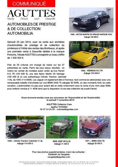 1,3 million d'euros pour la vente d'automobiles de collection à Lyon