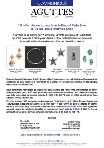 1,6 million d'euros pour la vente Bijoux & Perles fines