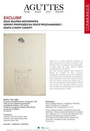 Deux œuvres importantes seront proposées prochainement : Sanyu et Mary Cassatt