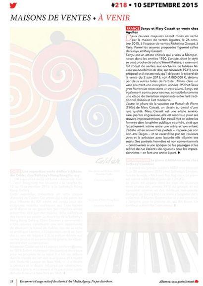France : Sanyu et Mary Cassatt en vente chez Aguttes