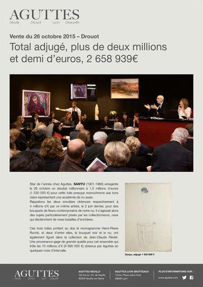 Total adjugé : 2 658 939 € pour la vente de Tableaux Modernes