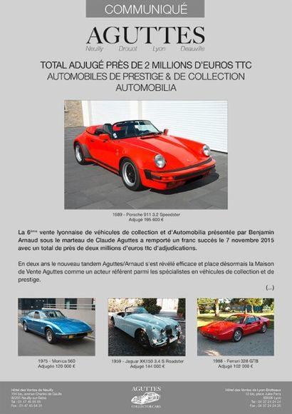 Total adjugé : Près de 2 millions d'euros pour la vente d'Automobiles