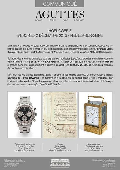 Horlogerie : Mercredi 2 décembre 2015 - Neuilly-sur-seine