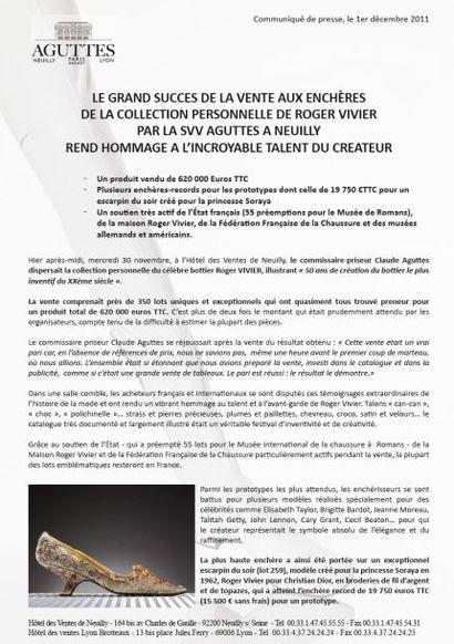 RÉSULTATS VENTE LA COLLECTION PERSONNELLE DE ROGER VIVIER