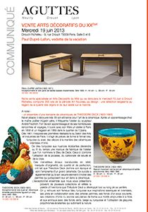 Vente Arts Décoratifs du XXeme - 19/06/13 - Drouot-Richelieu