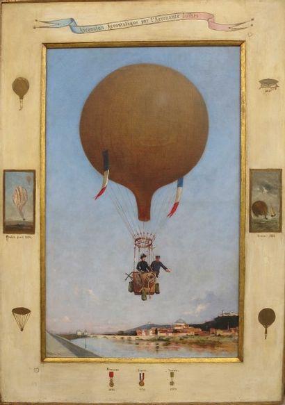 LE CAPITAINE-AERONAUTE JULHES ET SON BALLON AU-DESSUS DE TURIN EN1884